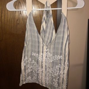 Blue and white stripped detailed tank top. From UO